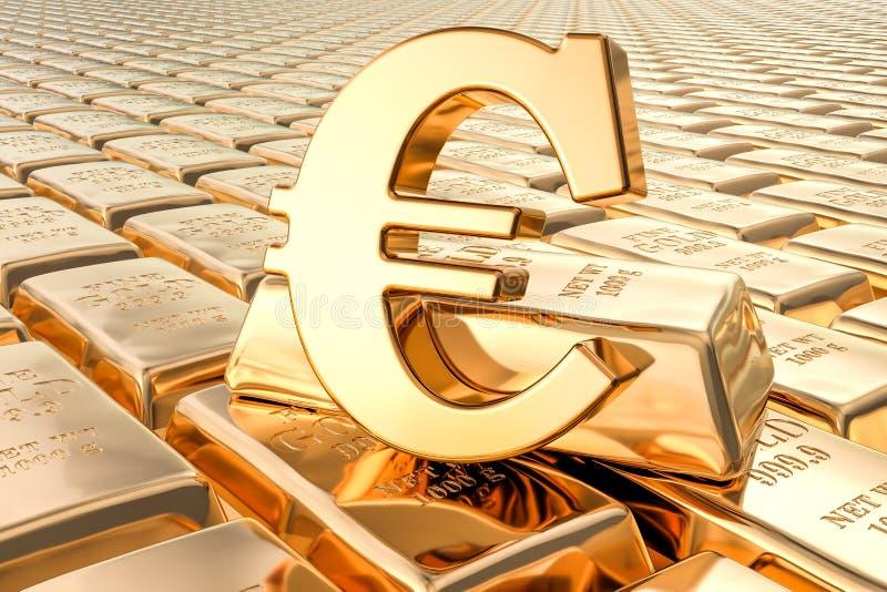 Achtergrond van gouden baren met euro symbool, het 3D teruggeven royalty-vrije illustratie