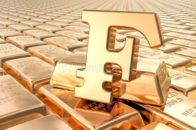 Achtergrond van gouden baren met franksymbool, het 3D teruggeven vector illustratie