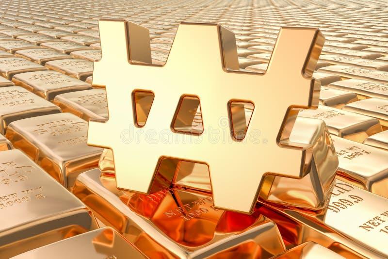 Achtergrond van gouden baren met gewonnen symbool, het 3D teruggeven stock illustratie
