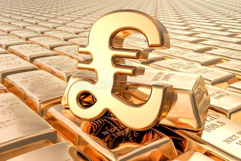 Achtergrond van gouden baren met pond Sterlingsymbool, het 3D teruggeven royalty-vrije illustratie