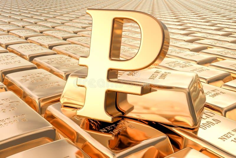 Achtergrond van gouden baren met roebelsymbool, het 3D teruggeven stock illustratie