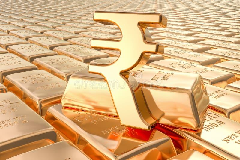 Achtergrond van gouden baren met Roepiesymbool, het 3D teruggeven royalty-vrije illustratie
