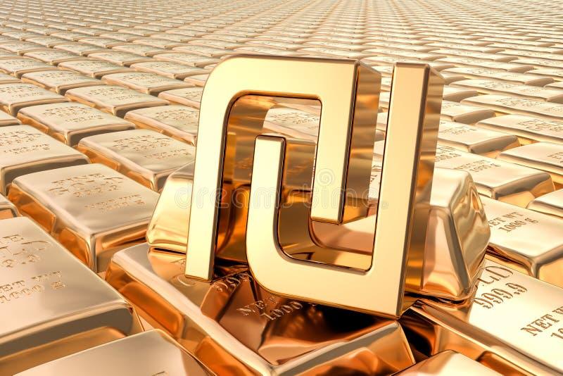 Achtergrond van gouden baren met sjekelsymbool, het 3D teruggeven vector illustratie