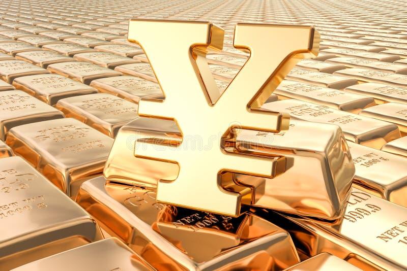 Achtergrond van gouden baren met Yen of yuanssymbool, het 3D teruggeven vector illustratie