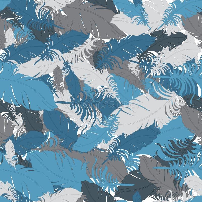 Achtergrond van grijze en blauwe verenvector royalty-vrije illustratie