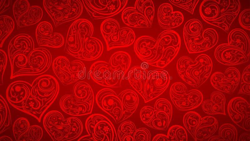 Download Achtergrond Van Grote Harten Vector Illustratie - Illustratie bestaande uit krullen, textuur: 107700664