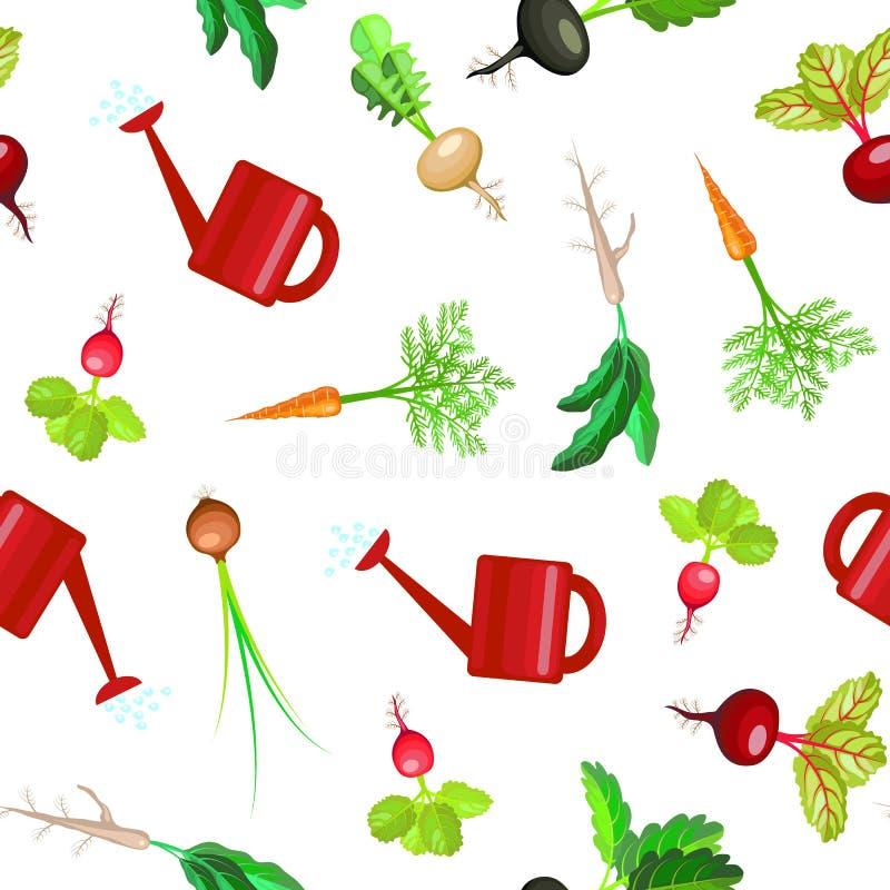 Achtergrond van het het Bed Naadloze Patroon van de beeldverhaal de Kleurrijke Verse Natuurvoeding Plantaardige Vector vector illustratie
