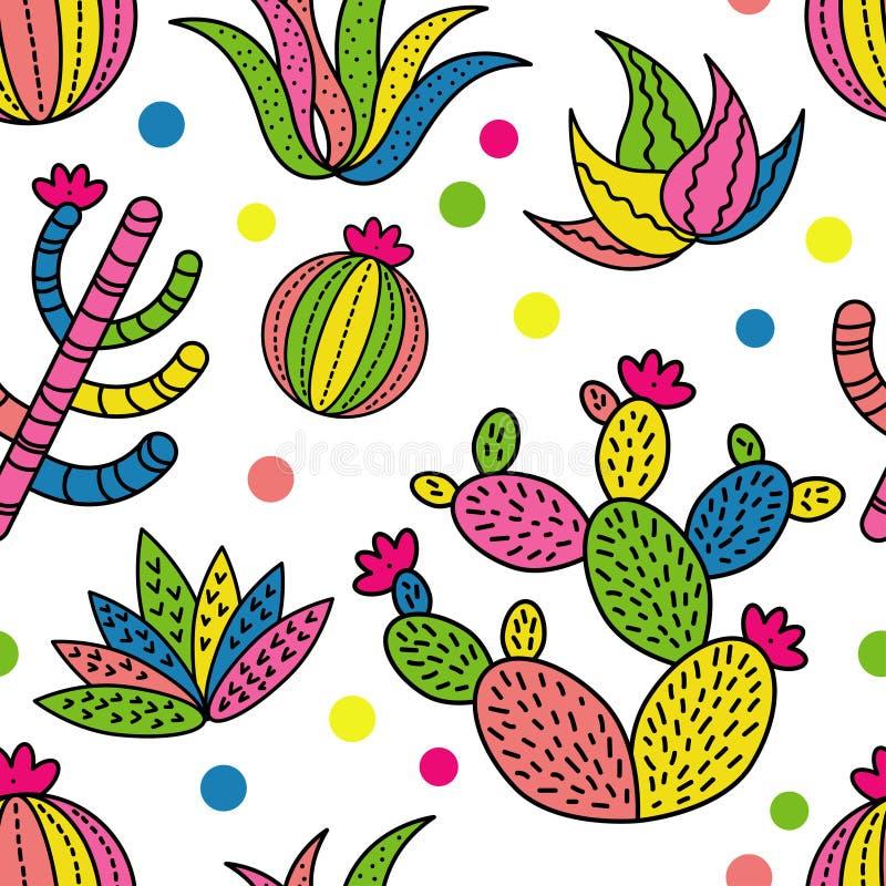 Achtergrond van het cactus de naadloze patroon stock illustratie