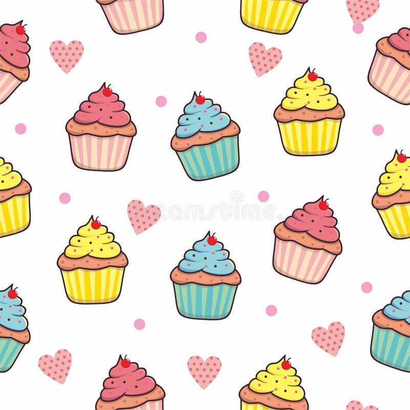 Achtergrond van het Cupcake de naadloze patroon met roze kleur stock illustratie