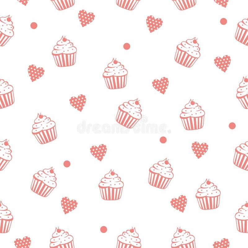Achtergrond van het Cupcake de naadloze patroon met roze kleur royalty-vrije illustratie