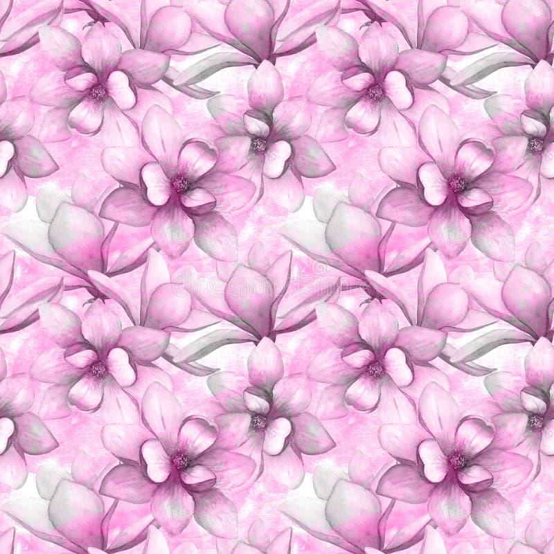 Achtergrond van het de bloemen naadloze patroon van de waterverf de mooie magnolia De elegante botanische illustratie van de Wate royalty-vrije illustratie