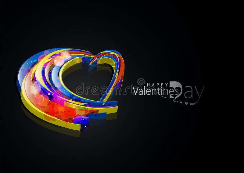 Achtergrond van het de dag 3d hart van valentijnskaarten royalty-vrije illustratie