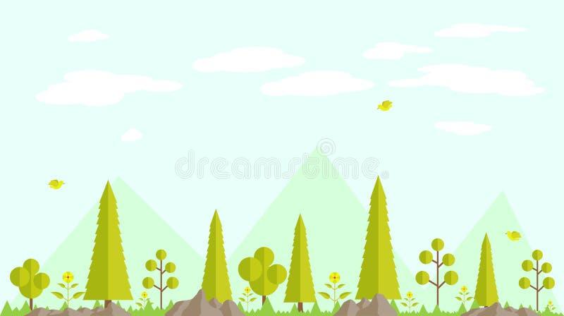 Achtergrond van het de lente de bos vlakke ontwerp vector illustratie
