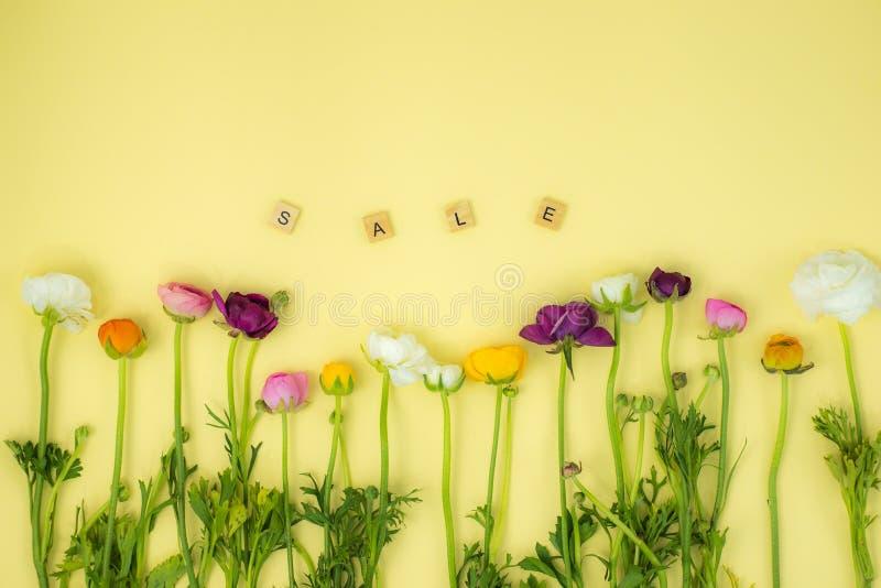 achtergrond van het de lente de flatlay concept met bloemen stock afbeelding