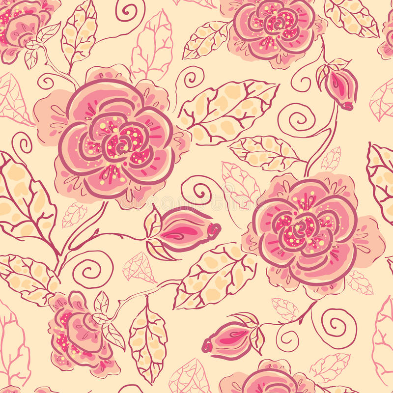 Achtergrond van het de rozen de naadloze patroon van de lijnkunst stock illustratie