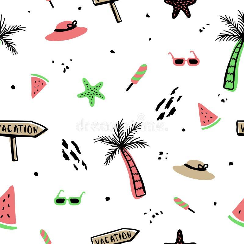 Achtergrond van het de zomer de naadloze patroon met hand getrokken stijl royalty-vrije illustratie