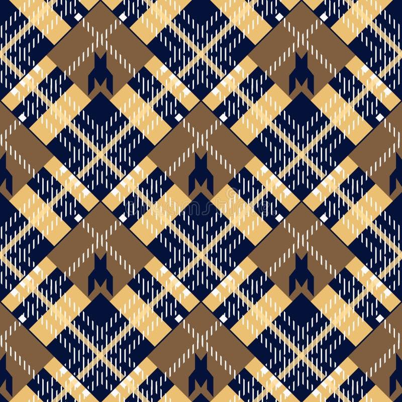 Achtergrond van het geruit Schots wollen stof de naadloze patroon Bruine, Zwarte, Beige en Blauwe Plaid, het Overhemdspatronen va stock illustratie