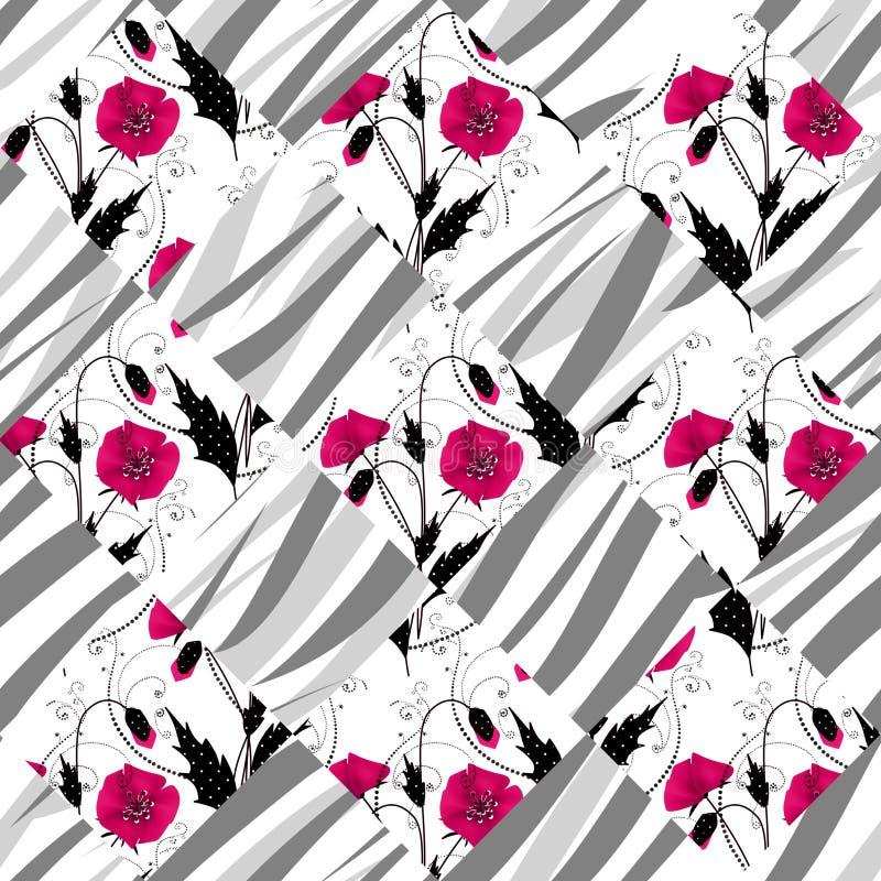 Achtergrond van het het patroonornament van de lapwerk de naadloze bloemenpapaver stock illustratie