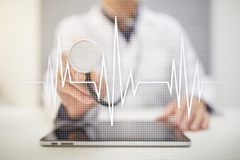 Achtergrond van het impuls de medische concept Geneeskunde en gezondheidszorg stock foto's