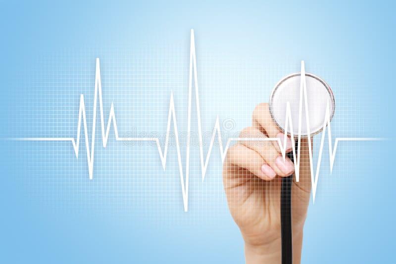 Achtergrond van het impuls de medische concept Geneeskunde en gezondheidszorg stock foto
