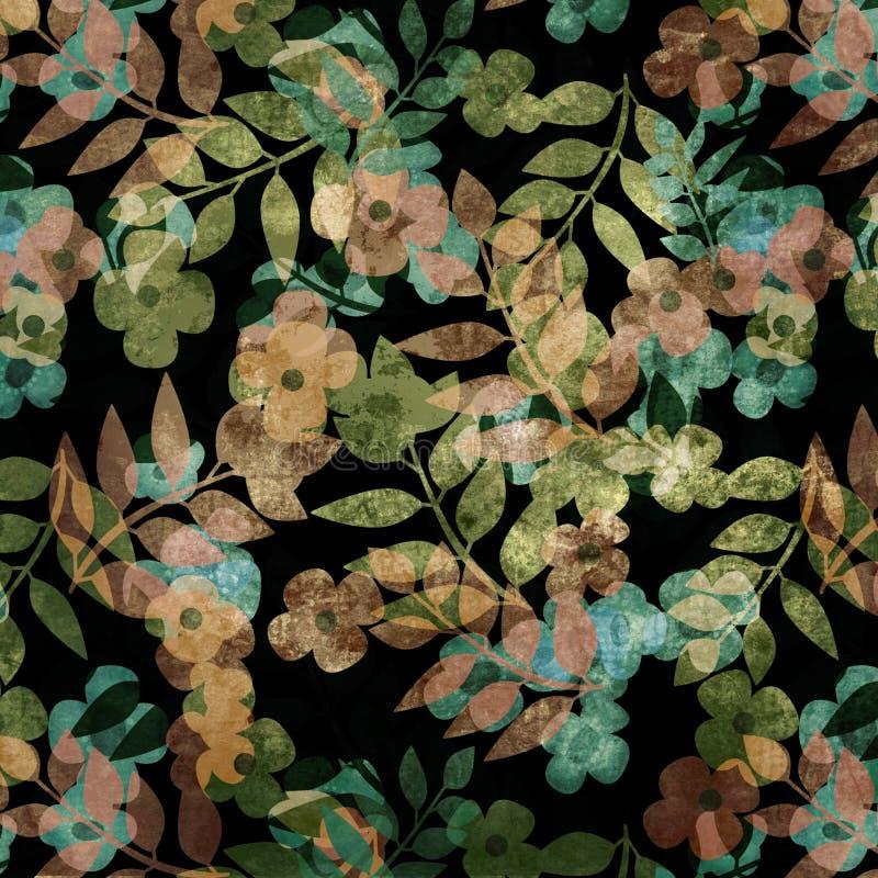 Achtergrond van het kunst de bloemenornament grunge stock illustratie