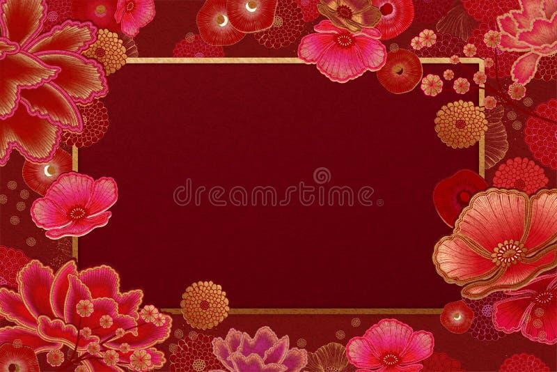 Achtergrond van het luxe de bloemenkader stock illustratie