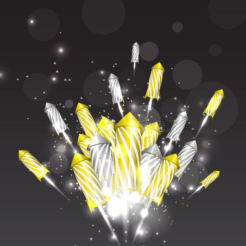 Achtergrond van het luxe de nieuwe jaar met vuurwerk royalty-vrije stock fotografie