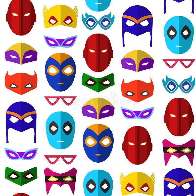 Achtergrond van het het Masker de Naadloze Patroon van beeldverhaalsuperhero Vector stock illustratie