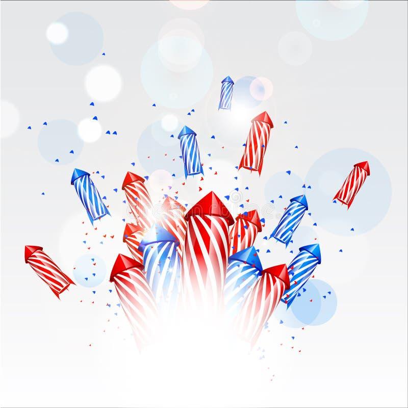 Achtergrond van het ontwerp de nieuwe jaar met vuurwerk royalty-vrije stock foto