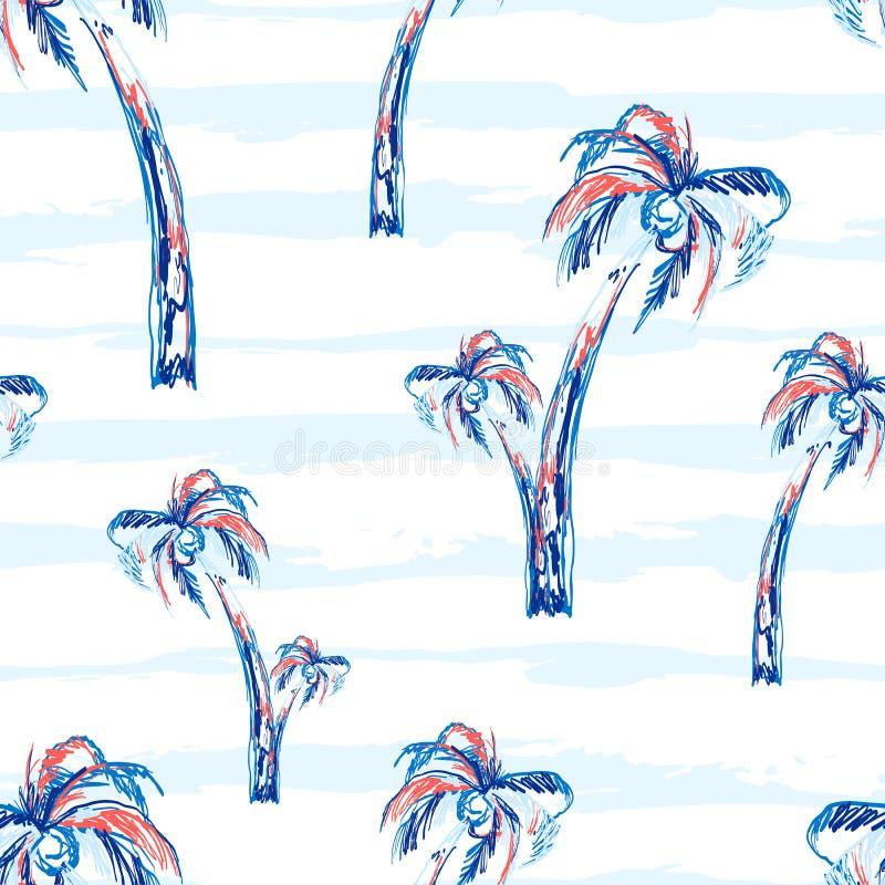 Achtergrond van het palm de naadloze vectorpatroon met palmen Tropisch de zomerontwerp met strepen stock illustratie