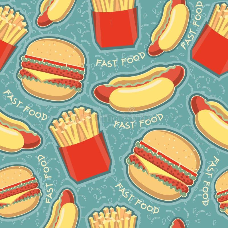 Achtergrond van het snel voedsel de naadloze patroon. Vector voedsel   stock illustratie
