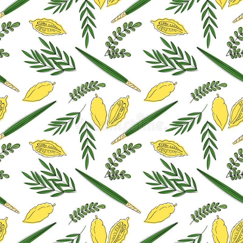 Achtergrond van het Sukkot de naadloze patroon stock illustratie