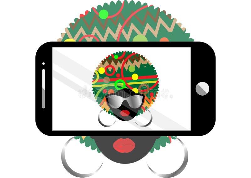 Achtergrond van het vrouwen selfie de vectorconcept In zwarte afrovrouw met zonnebril die een zelfportret op slimme telefoon neme vector illustratie