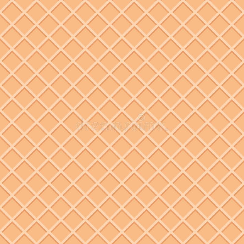 Achtergrond van het wafeltje de naadloze patroon De oppervlakte van de roomijskegel stock illustratie