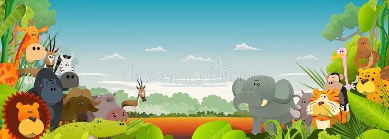 Achtergrond van het wild de Afrikaanse Dieren royalty-vrije illustratie