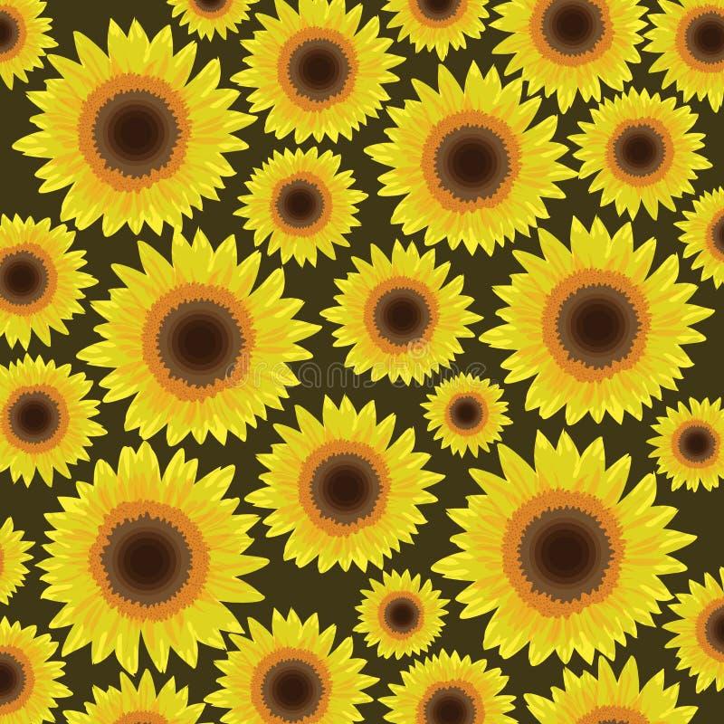 Achtergrond van het zonnebloem de naadloze patroon - Vector vector illustratie