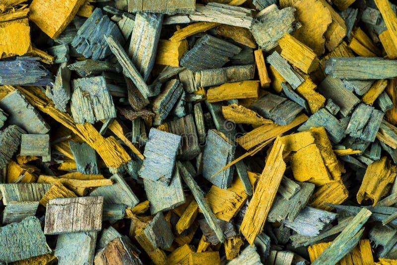 Achtergrond van houten spaanders wordt gemaakt die stock foto