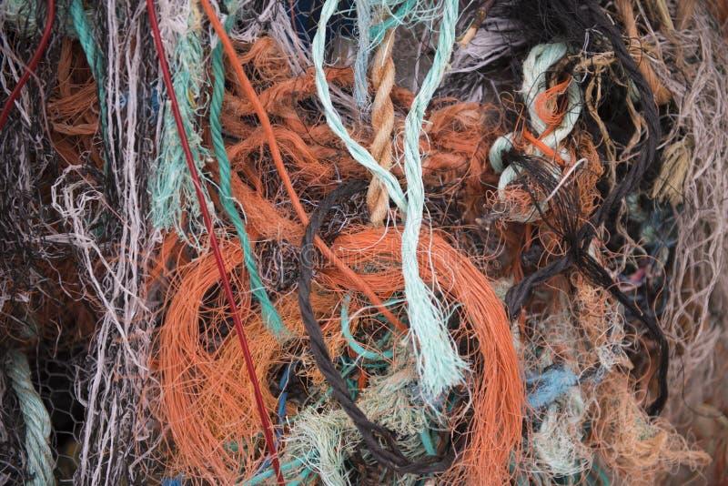 Achtergrond van kleurrijke vissers` s kabels stock afbeeldingen