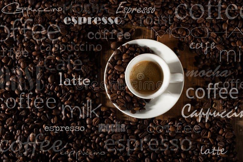 Achtergrond van kop van koffie stock fotografie