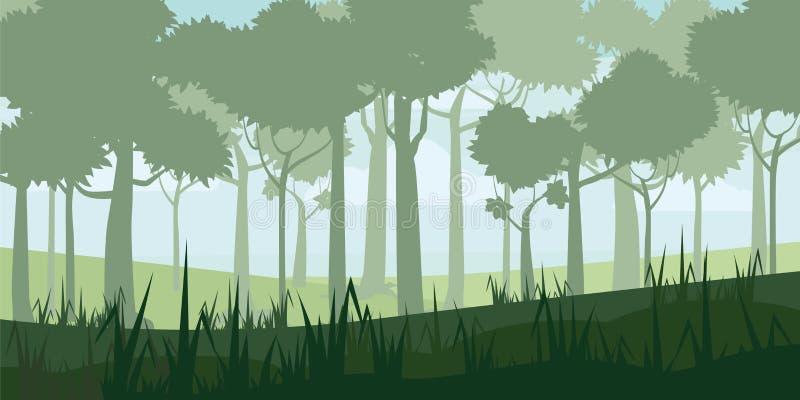 Achtergrond van landschap met de diepe stijl van het vergankelijk bosbeeldverhaal Vector, illustratoin vector illustratie