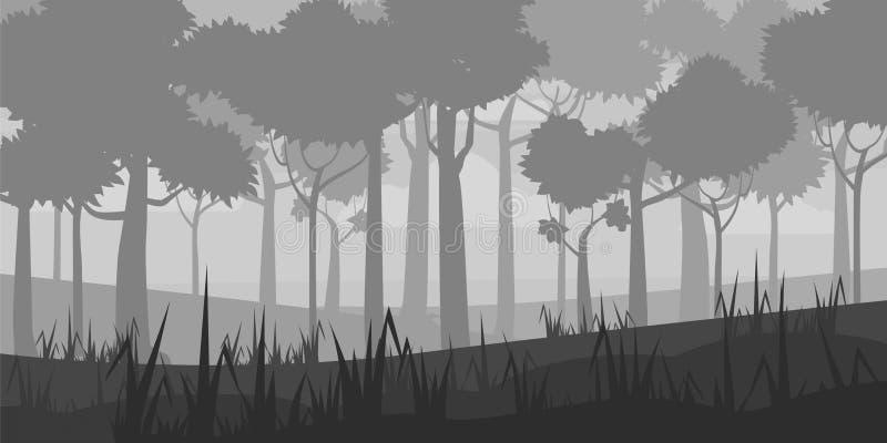 Achtergrond van landschap met de diepe stijl van het vergankelijk bosbeeldverhaal Vector, illustratoin royalty-vrije illustratie