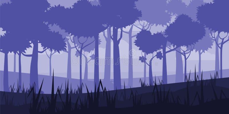 Achtergrond van landschap met de diepe stijl van het vergankelijk bosbeeldverhaal Vector, illustratoin stock illustratie