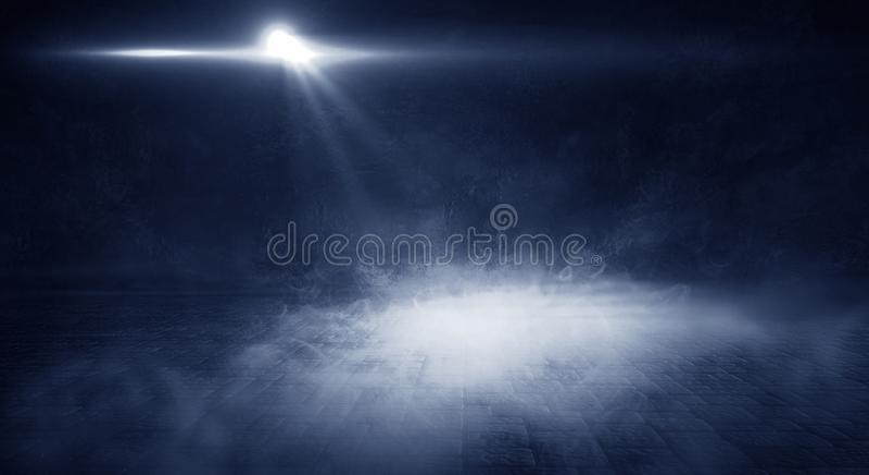 Achtergrond van lege ruimte met bakstenen muur en concrete vloer Rook, mist, neonlicht stock afbeeldingen