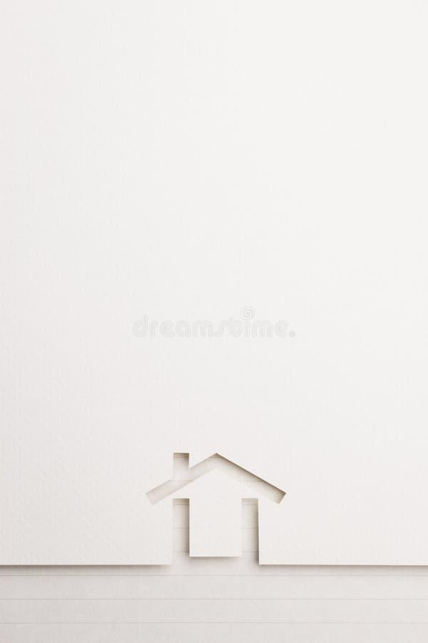 Achtergrond van minimaal huis op schrijfpapiergrens royalty-vrije stock afbeelding