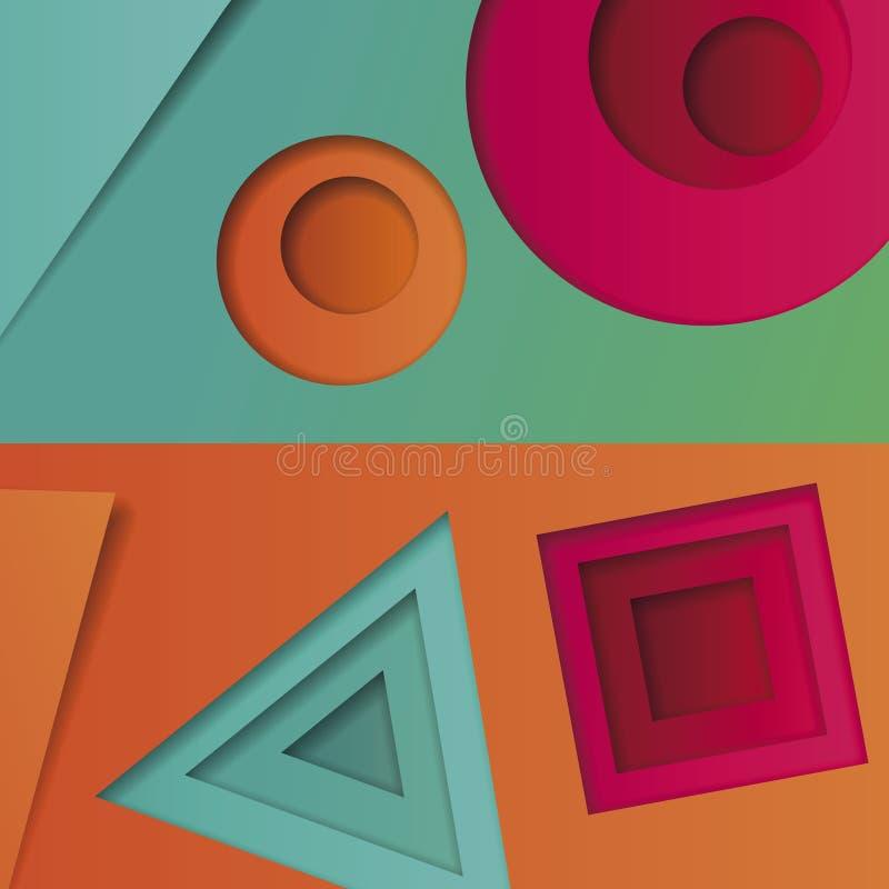 Achtergrond van multicolored samenvatting in de stijl van materieel ontwerp met geometrische vormen van verschillende grootte Mul stock illustratie