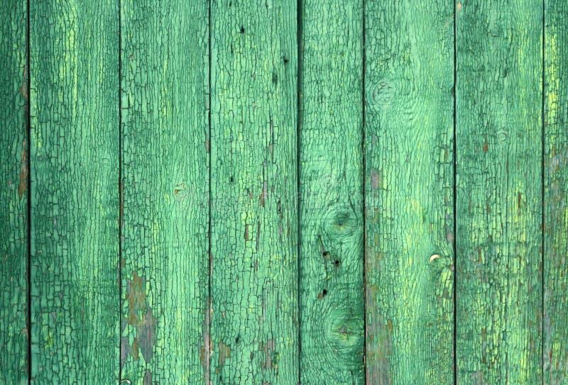Achtergrond van oude sjofele houten raad Turkooise houten textuur met schilverf stock afbeelding
