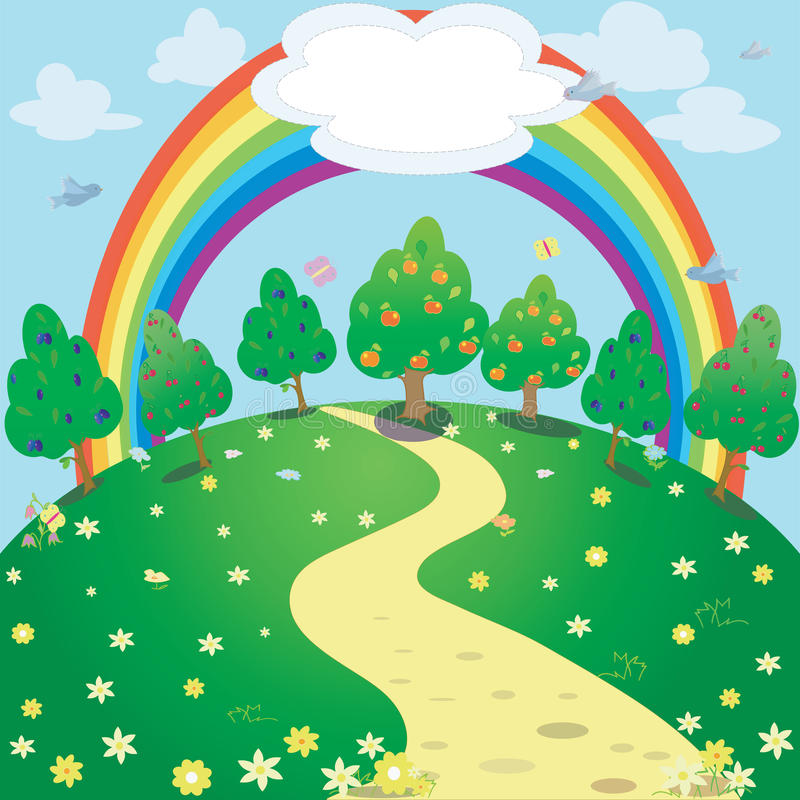 Achtergrond van regenboog en tuin Vectorfantasieillustratie stock illustratie
