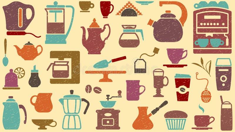 Achtergrond van thee en koffie royalty-vrije illustratie