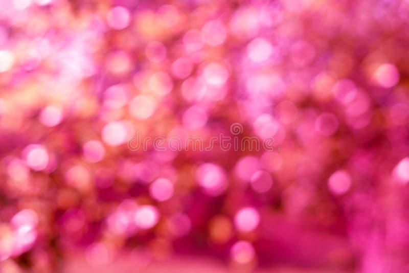 Achtergrond van vakantie de heldere roze lichten bokeh stock afbeelding