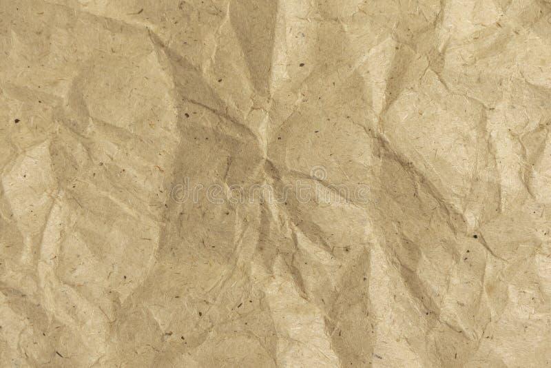 Achtergrond van verfrommeld verpakkend document Verfomfaaide document textuur royalty-vrije stock foto